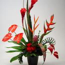 Tropical contemporary design in a black ceramic vase