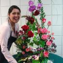 Special Events class student with centerpiece