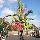 Phil giving a demonstration of a large tropical flowers design for an Advanced Class