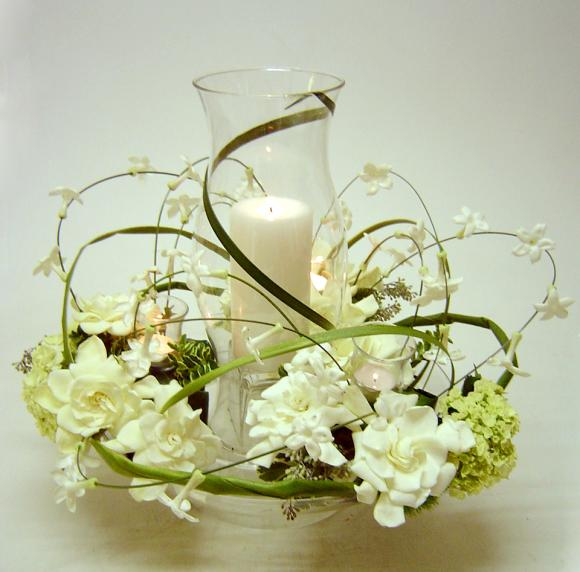 Hurricane Centerpiece with Stephanotis and Gardenias